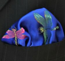 Hankie Pocket Square Handkerchief  Iridescent Dragonfly Blue GOLD - UK Made