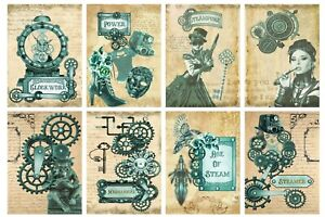 STEAM PUNK  - 2 x A4 SHEETS OF CARD TOPPERS -  SCRAPBOOKING  - 250GSM