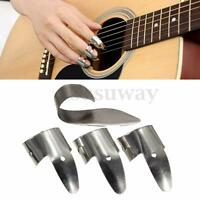 New Metal Silver 3 Bass Finger Picks And 1 Thumb Pick Nails Guitar Plectrum Set