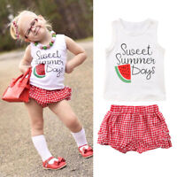 Toddler Kid Baby Girls Vest Top T-shirt Shorts Pants 2Pcs Outfits Clothes Summer
