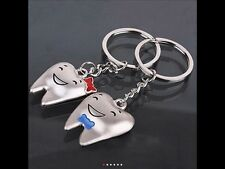 2PCS LOVER COUPLE TOOTH SHAPE SMILE FACE PENDANT KEY RING KEY CHAINS KEYCHAINS