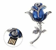 USB Stick Jewellery Memory Stick Rose Brooch Pin Blue 8 GB