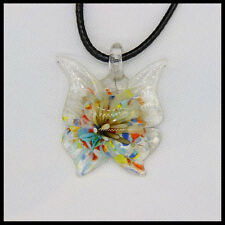 Fashion Women's butterfly lampwork Murano art glass beaded pendant necklace #A32