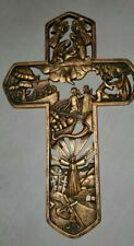 "Stages of Christ Easter Resin Stone Wall Cross Home Wall Decor 11"" x 7"" x 3/8 """