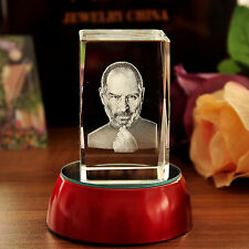 3D Laser Etched Steve Jobs Figurine Crystal Paperweight Home&Office Decor Crafts