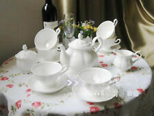"""15 Piece"" British Style Bone China White Wedding Gift Coffee Tea Set Teaset"