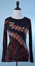SAVE THE QUEEN $198 Black Gold Red Long Sleeve Mesh Overlay Ribbon Top Size L