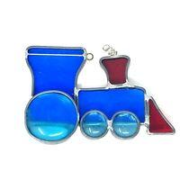 Blue Choo Choo TRAIN TOY Vintage Leaded Stained Glass Window Suncatcher