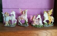 "Set of 4 Miniature Unicorn Fairy Figurines 3"" Glitter from Ireland"