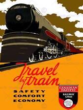 Travel transport train chemin de fer canadien pacifique canada vintage poster art 2536PY