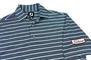 FootJoy FJ Titleist Carolina Navy Blue Stripe Golf Polo Shirt Medium