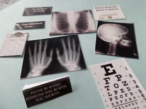Doctors Medical signs and X-rays  Dollhouse Miniature Dr 1:12 scale Hospital