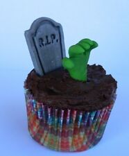 12 edible 3D GRAVE TOMBSTONE ZOMBIE HAND HALLOWEEN cake topper CUPCAKE DECORATI