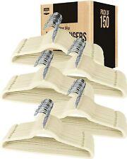 Velvet Suit Hangers 50 Pack Heavy Duty Non Slip Premium Ivory by Utopia Home
