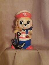 """Napcoware Vintage 7"""" Piggy Bank Sailor Dog"""