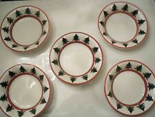 """FIVE """" PIER 1""""  BOWLS 8 1/4 INCH CHRISTMAS TREE DESIGN MADE IN ITALY"""