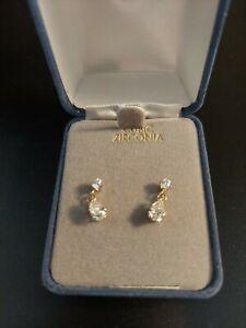 10K s  Gold Cubic Zirconia Dangle Pierced Earrings Nwot