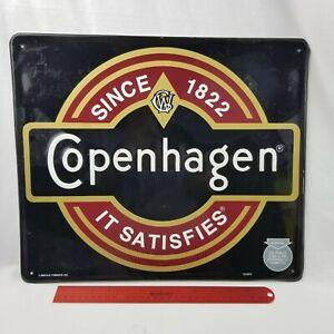 Advertisement  Copenhagen Metal Embossed Tin Sign 1992 Vtg Tobacco Chew