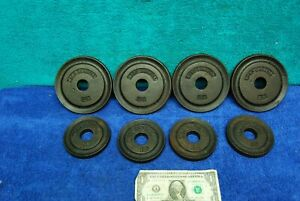 8pc 1940's Vintage Milo Barbell Cast Iron Weightlifting Plates 2 1/2 & 1 1/4 LBS