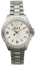 ELLE Jewelry - Silver-Tone Watch & Bracelet w/ silver-tone Sunray & Crystal Dial