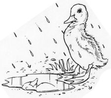 Unmounted Rubber Stamps, Nature Stamps, Duck, Animals, Ducks, Duckling in Puddle