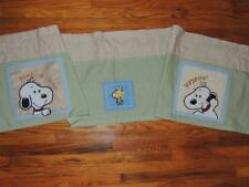 Baby Snoopy Peek A Boo Valance Lambs & Ivy Woodstock Green Tan Pole Top 67 X 13