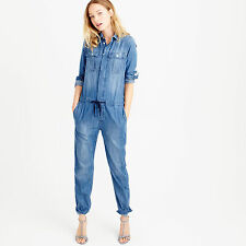J. Crew Denim Indigo Chambray Jumpsuit Overall Coverall size 4