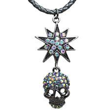 KIRKS FOLLY STARLIGHT SKULL KING CORD NECKLACE  ANTIQUE SILVERTONE/BLACK DIAMOND