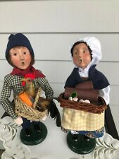 Byers Choice Carolers 2003 French Children w/Rooster and Yule Log Set of 2