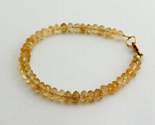Natural Citrine Bracelet Gemstone Bangle Faceted Rondelle Jewelry approx. 20 cm