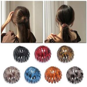 Fashion Women's Bird Nest Expanding Crystal Tail Hair Bun Holder Clips Claw Pins