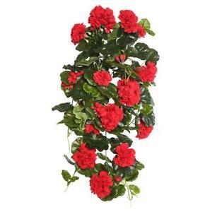Vickerman FL170802 Red Geranium Hanging Floral Bush - 29 in.