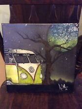 """volkswagen VW BUS YELLOW  12x12"""" original painting by artist on stretched canvas"""