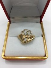 9ct Yellow Gold Ladys Dress Ring With Diamonds