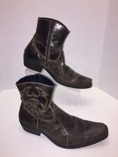 IMPULSE MEN'S Sz 8.5 MEX BOVINE LEATHER PIG LINED BROWN STUDDED ZIP ANKLE BOOTS