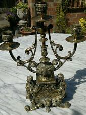 "Antique 19thC French Empire Gilt Bronze Candelarbra 3 Arm~Winged Goddess~13""Tall"
