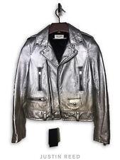 Saint Laurent 2015 L01 Runway Silver Metallise Leather Jacket Retail $5,750