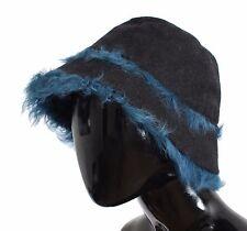 Nuova con Etichetta Dolce & Gabbana Grigio Lana Blu Montone Cappello a Cloche