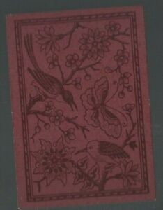 Playing  Cards 1  ANTIQUE  SQ  CNR  BIRDS   BUTTERFLIES  &  BLOSSOMS  SQ75 BROWN