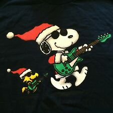 Peanuts Snoopy T-Shirt L Large Christmas `Tis The Season To Rock Woodstock NEW