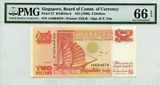 MONEY SINGAPORE $2 DOLLARS ND 1990 BOARD OF COMM. OF CURRENCY PICK # 27 GEM UNC