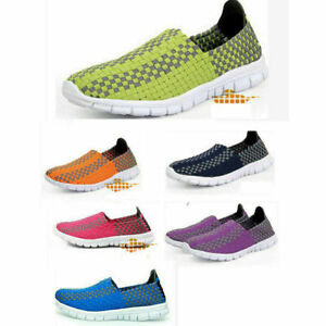 Mens Womens Slip On Elasticated Shoes Ladies Casual Beach Woven Sandals Trainers