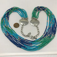 CHICO'S Necklace Blue Green Seed Bead Multi Layer Strand Statement Ocean Beach