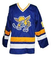 Any Name Number Size Minnesota Fighting Saints Custom Hockey Jersey Blue