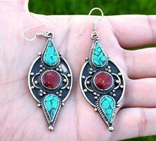 Turquoise Red Coral Tibetan Earrings Nepal Jewelry Bohemian Ethnic Boho Dangle