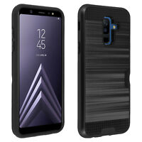Defender bi-material Case + card holder for Samsung Galaxy A6 Plus - Black