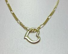 14KT  GOLD EP 15 INCH 2MM FIGARO CHILDRENS COMFORT CHAIN  WITH FLOATING HEART