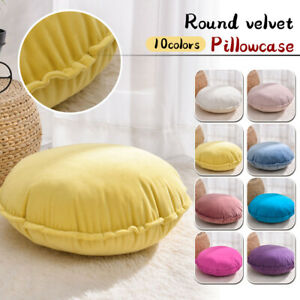 Soft Solid Velvet Pillow Case or Round Cushion Sofa Living Room Car Back Pillow