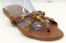 a4edc7e0b BcbgMaxazria Rhinestone Women s Brown Leather Flip Flop Sandals Sz 38 8 M  Shoes