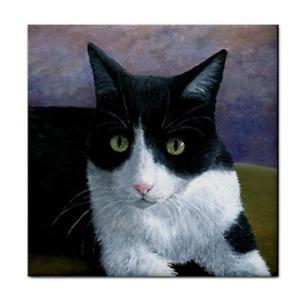 Large Ceramic Tile 6x6 inches Printed in USA Cat 577 Tuxedo art L.Dumas